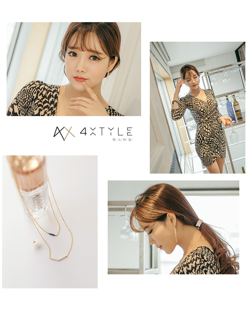 [ 4xtyle ] LADIES TWOLINE NECKLACE(ROSEGOLD)
