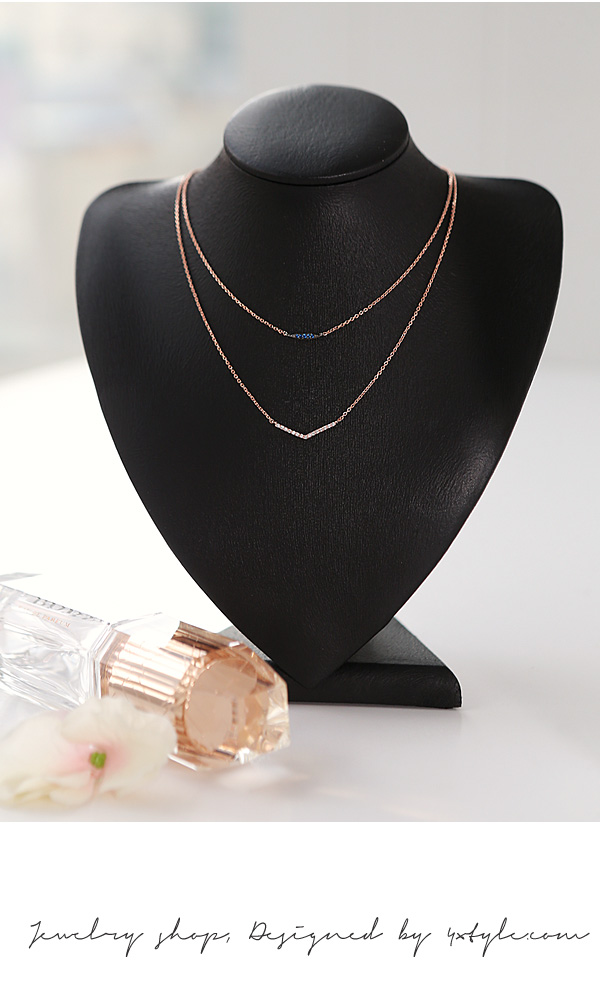 [ 4xtyle ] LADIES TWOLINE NECKLACE(WHITEGOLD)