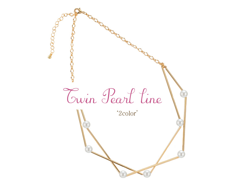 [ 4xtyle ] TWIN PEARL LINE NECKLACE