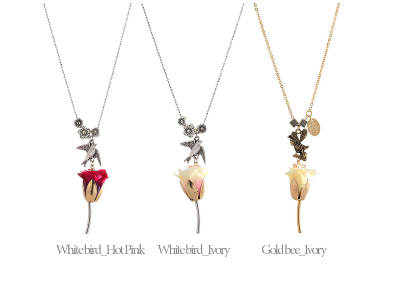 [ 4xtyle ] BIRD AND HONEYBEE LONG NECKLACE