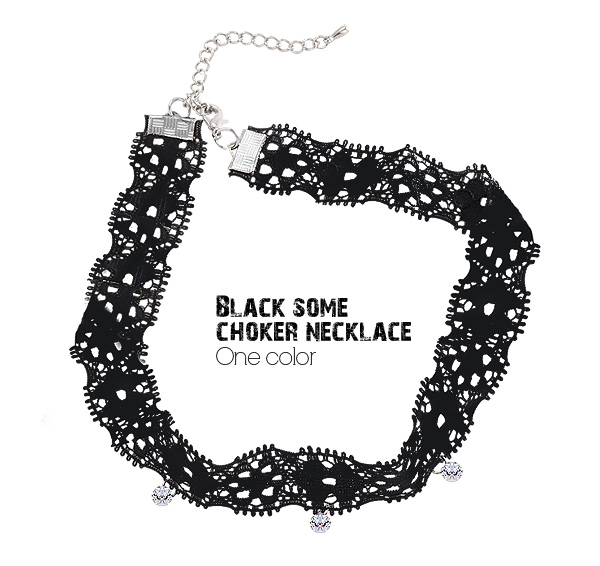 [ 4xtyle ] BLACK SOME CHOKER NECKLACE