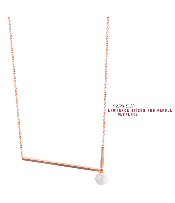 [ 4xtyle ] [SILVER] LAWRENCE STICK AND PEARL NECKLACE