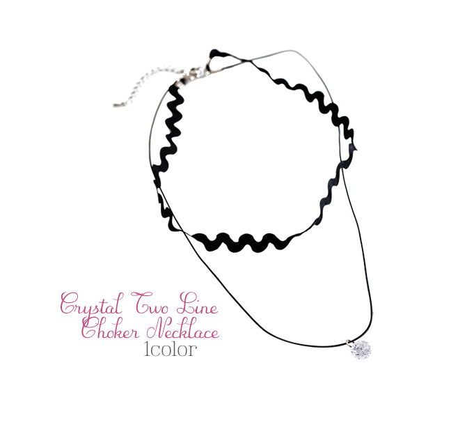[ 4xtyle ] CRYSTAL 2LINE CHOKER NECKLACE