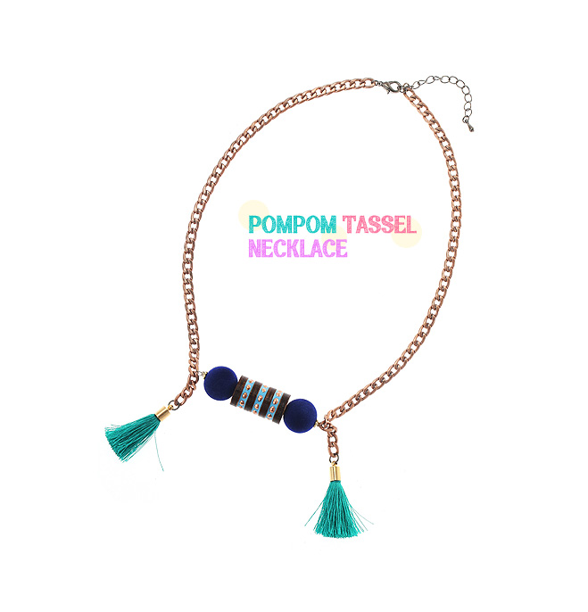[ 4xtyle ] POMPOM TASSEL NECKLACE