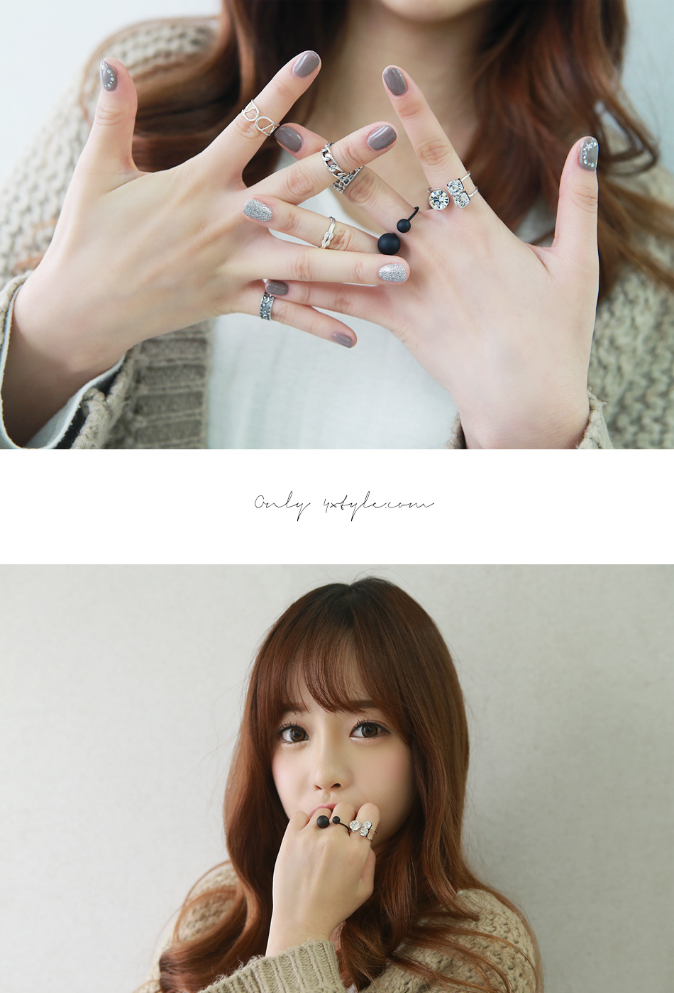 [ 4xtyle ] BLACK & WHITE BALL RING (BLACK)
