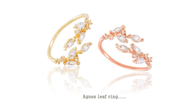 [ 4xtyle ] AGNES LEAF RING (WHITEGOLD)