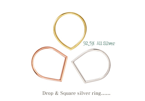 [ 4xtyle ] [SILVER] DROP & SQUARE SILVER RING (GOLD/ROSEGOLD)