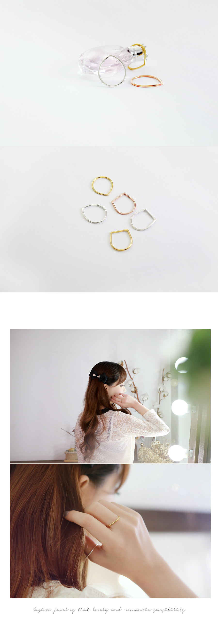 [ 4xtyle ] [SILVER] DROP & SQUARE SILVER RING (WHITE)