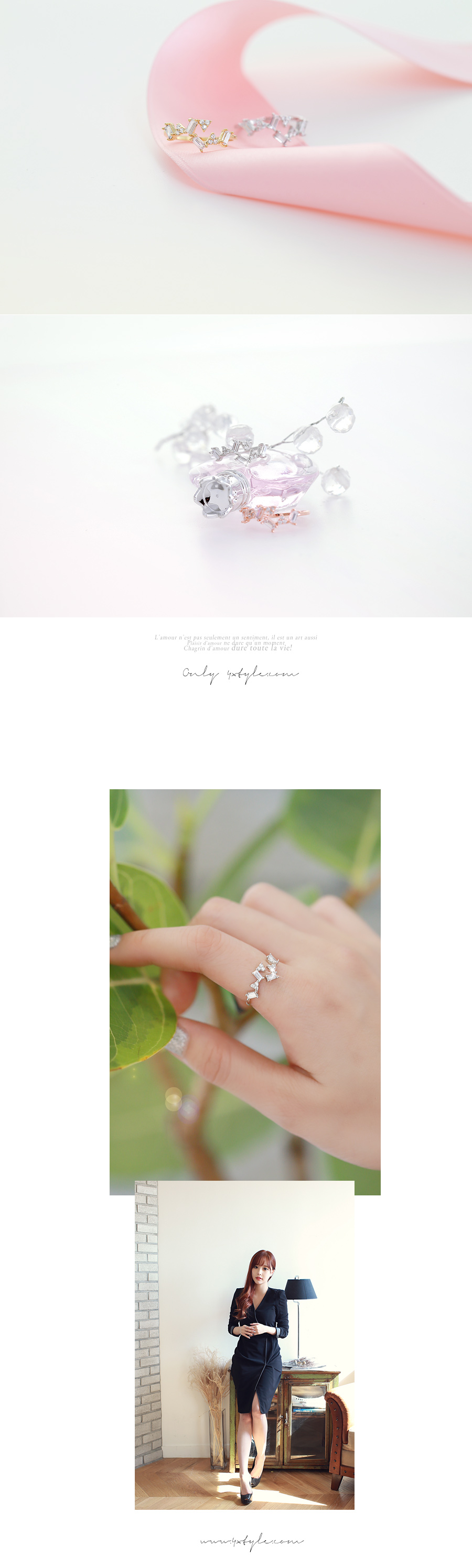 [ 4xtyle ] 轻轻地将立方环(WHITEGOLD)