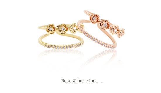 [ 4xtyle ] Women Rose 2 Line Ring, 3 Colors