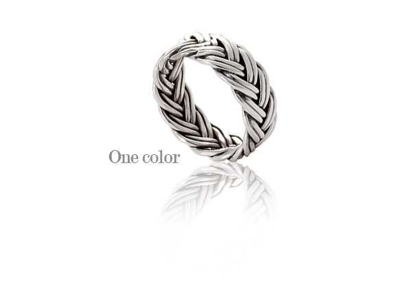 [ 4xtyle ] Wide Braid Silver Ring, One color
