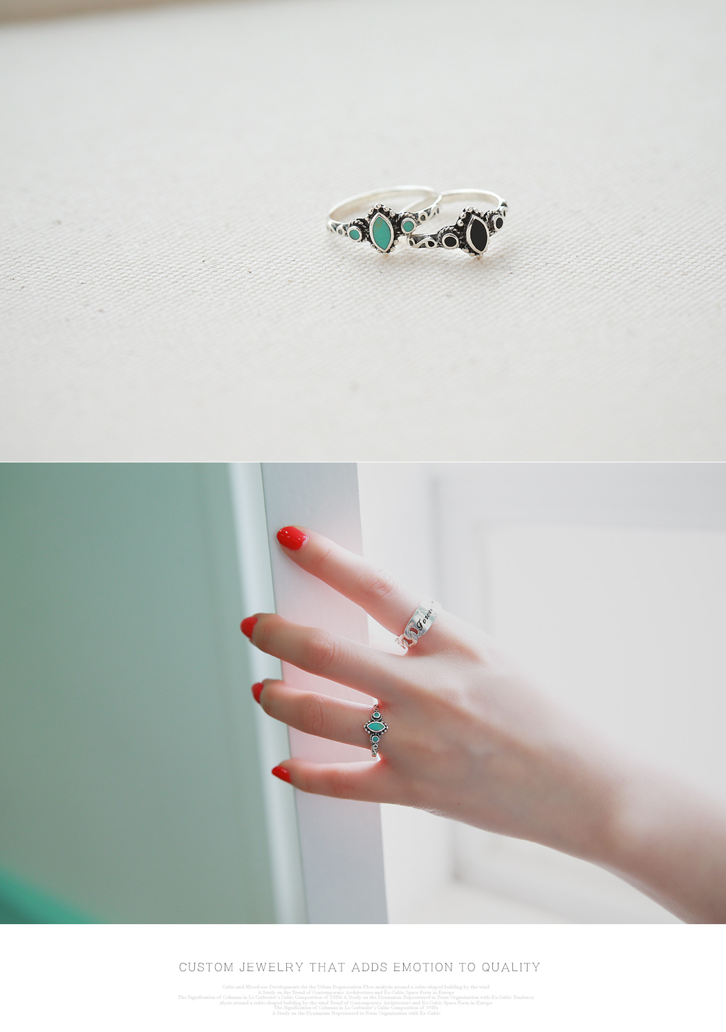 [ 4xtyle ] Bohemian Gemstone Silver Ring, 3 Colors