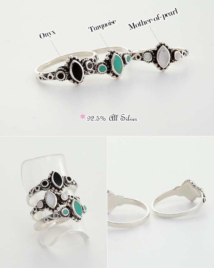 [ 4xtyle ] 波西米亚宝石银戒指、3种颜色