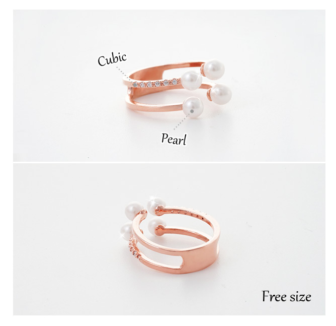 [ 4xtyle ] APPITIZER PEARL RING (ROSEGOLD)