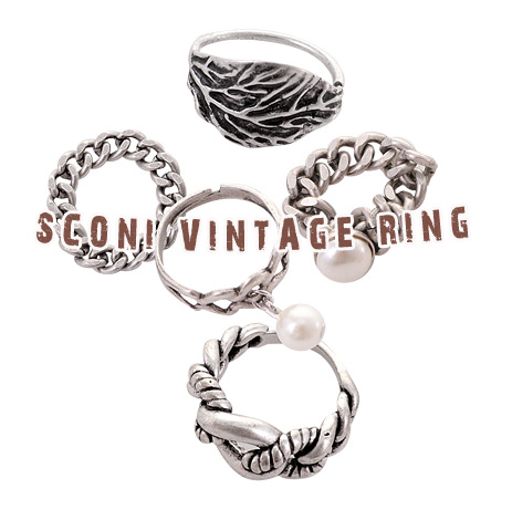 [ 4xtyle ] (2EA 1SET) SCONY RING (LEAFPEARL)