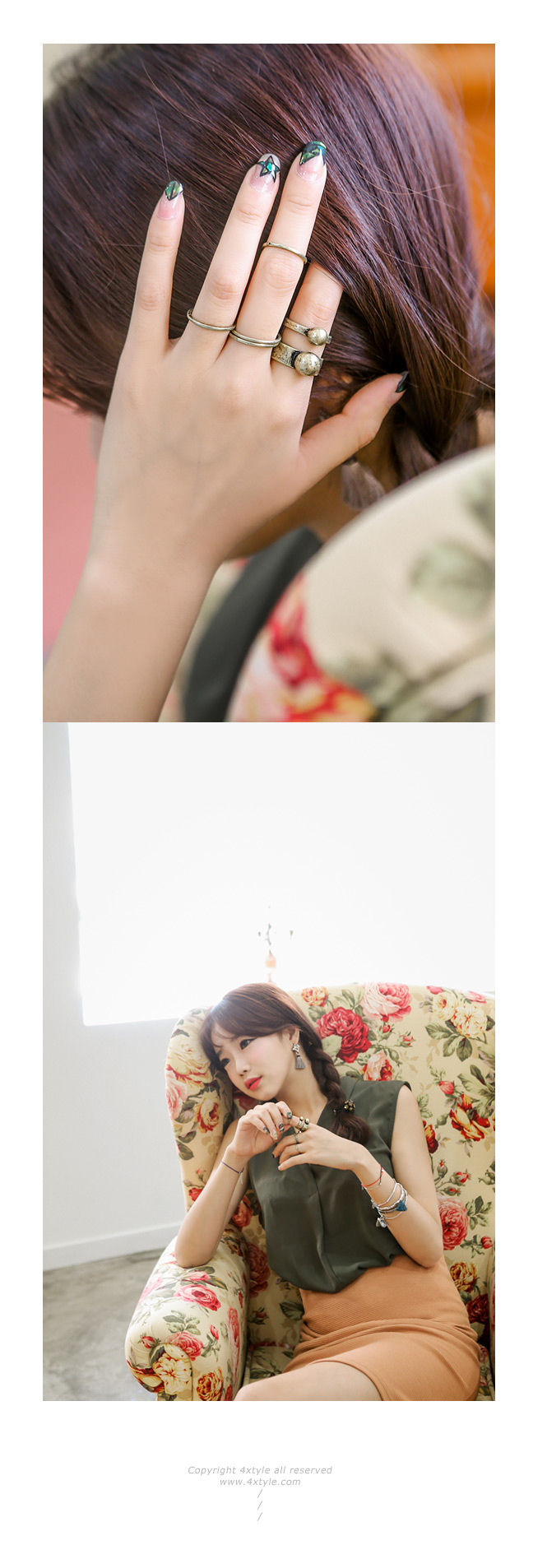 [5개1세트] 메이폴 엔틱 반지 - 폭스타일, 9,000원, 패션, 패션반지
