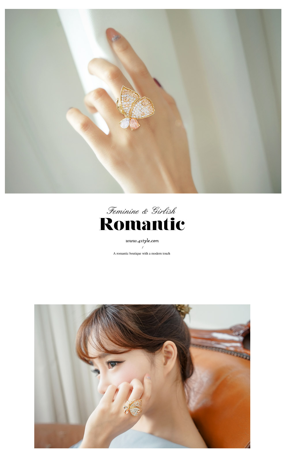 [ 4xtyle ] Charming Butterfly Ring, 3 Colors