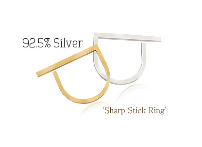 [ 4xtyle ] Sharp Stick Silver Ring, 2 Colors