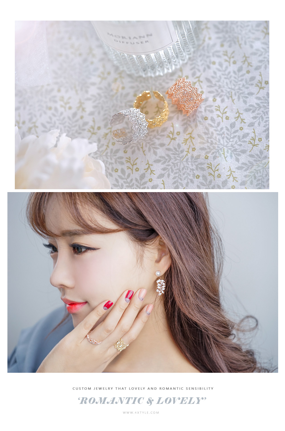 [ 4xtyle ] Wide Lace Ring, 3 Colors