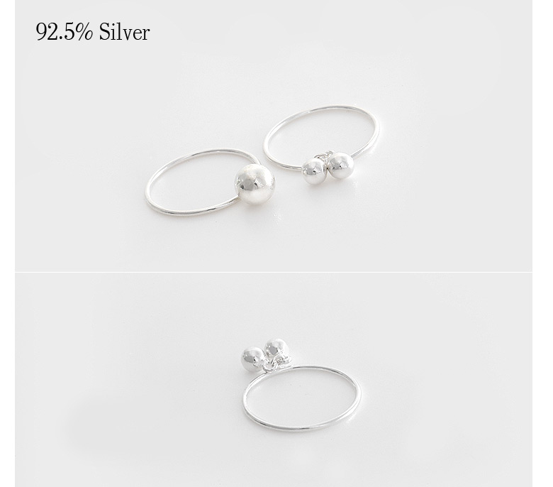 [ 4xtyle ] [SILVER] SLIVERDROP RING (ONE BALL-5MM)