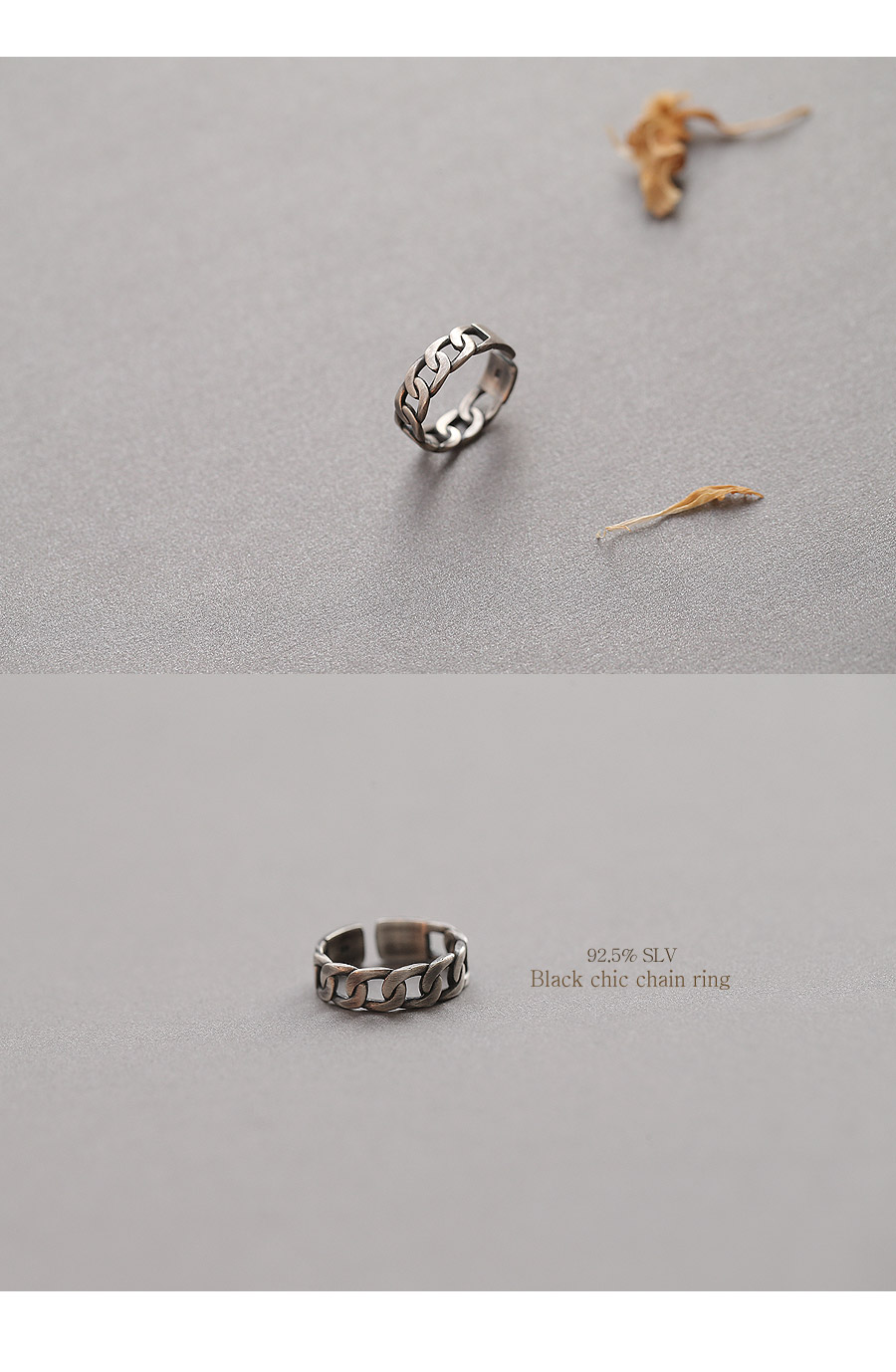 [ 4xtyle ] [4xtyle] Black Chic Chain Silver Ring, One Color