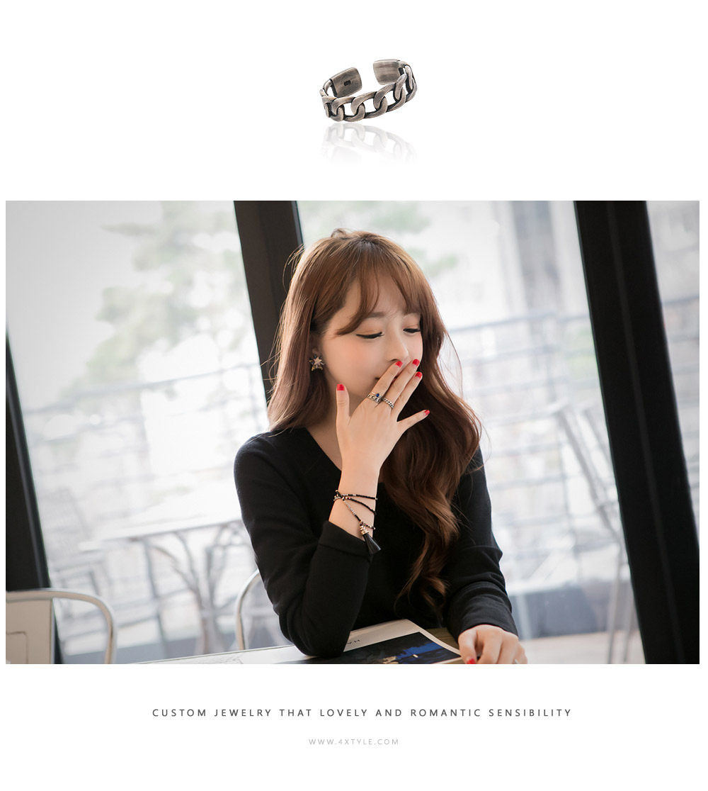 [ 4xtyle ] Black Chic Chain Silver Ring, One Color