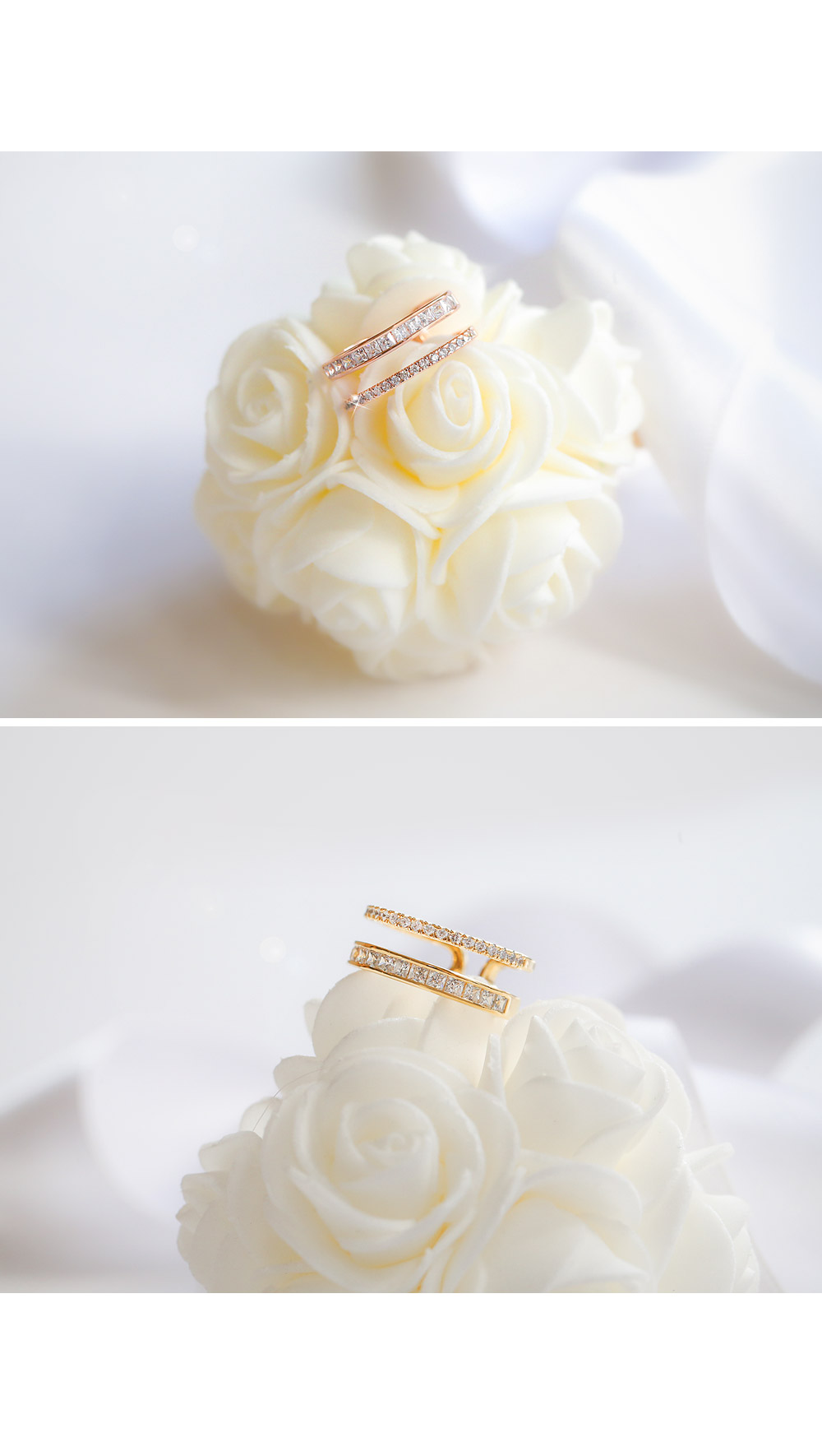 [ 4xtyle ] Double Line Crystal Ring, 3 Colors