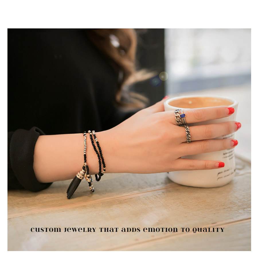[ 4xtyle ] [4xtyle] Modern Chain Silver Ring, 3 Colors