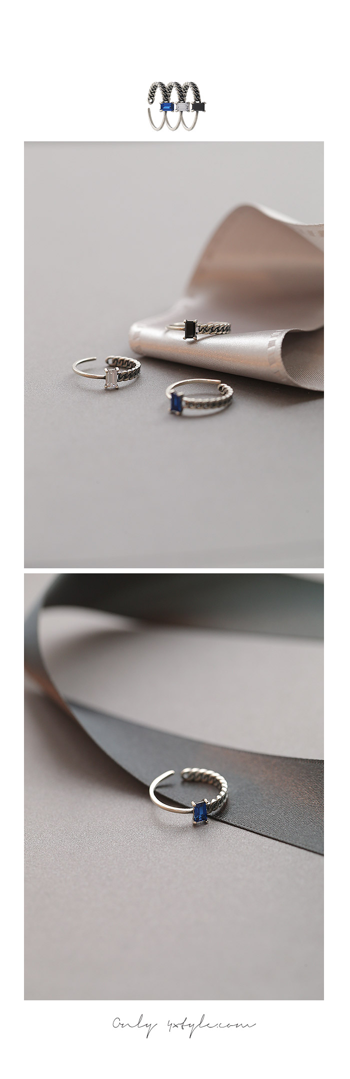 [ 4xtyle ] Modern Chain Silver Ring, 3 Colors