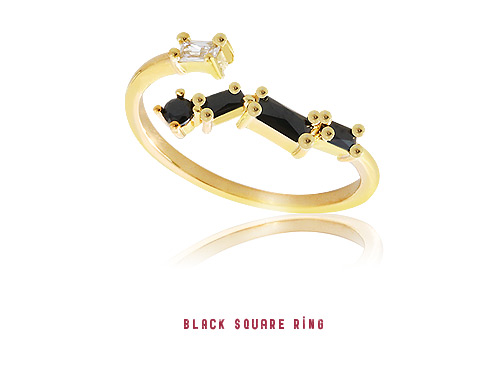 [ 4xtyle ] Black Square Ring, 3 Colors