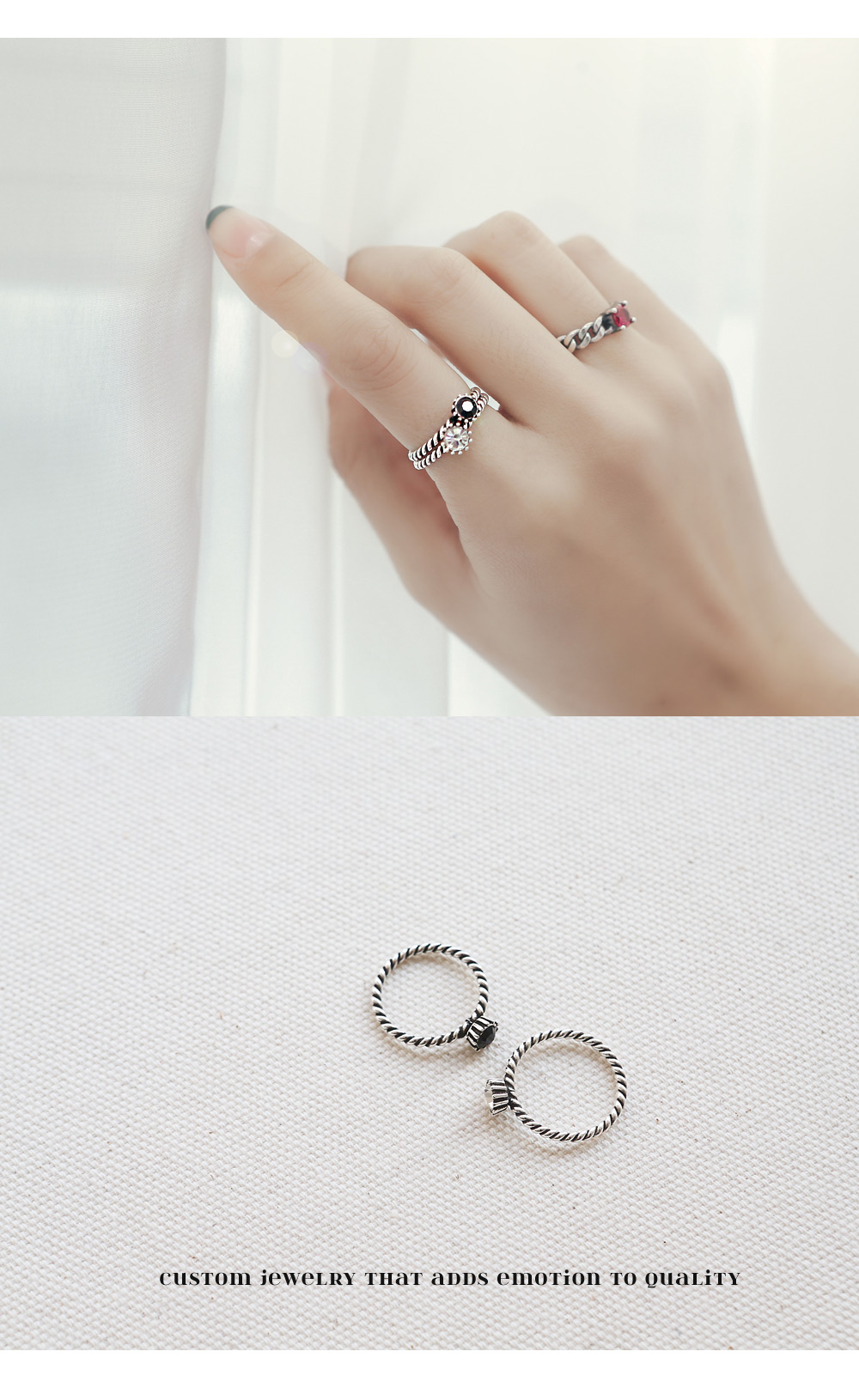 [ 4xtyle ] Twisted Silver Ring, 2 Colors
