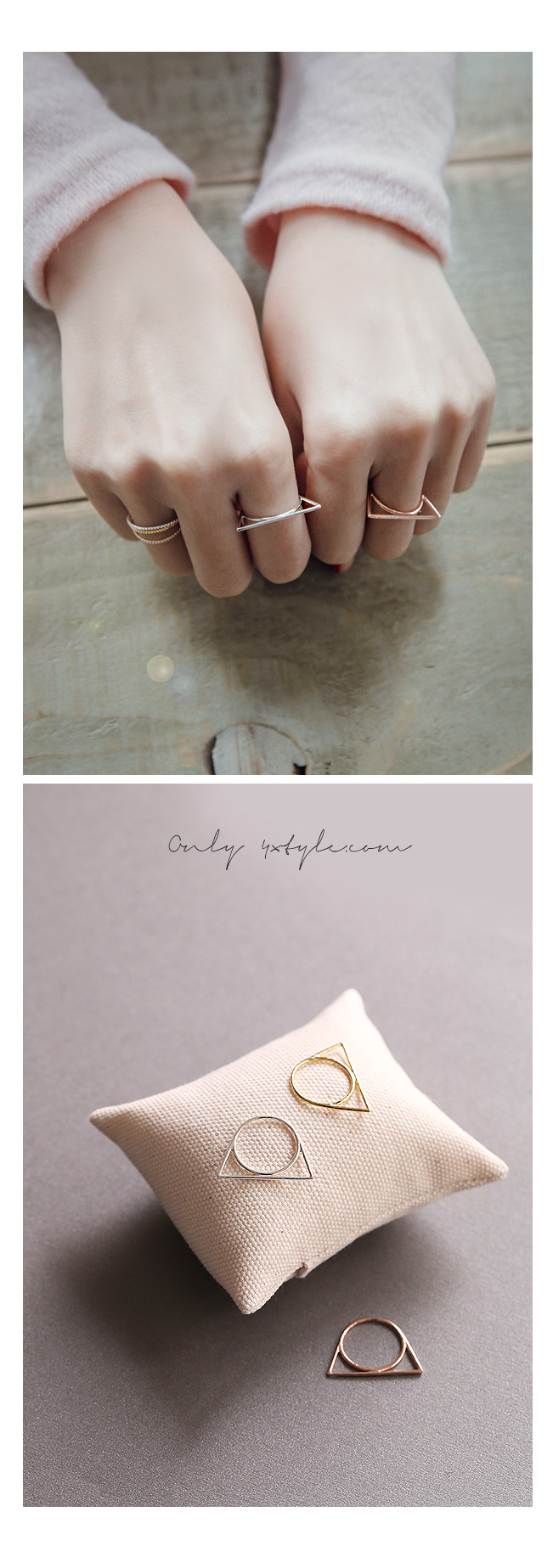 [ 4xtyle ] [SILVER] SLIM UNIQUE RING (WHITE)