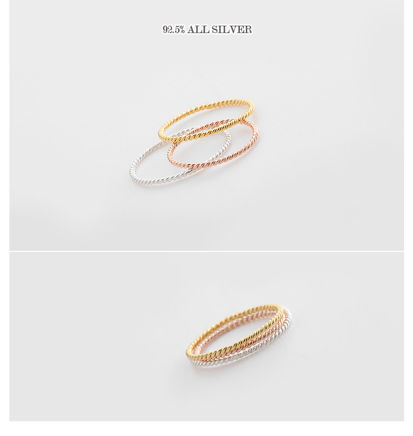 [ 4xtyle ] [SILVER] WHIPPING TWIST RING (WHITE)
