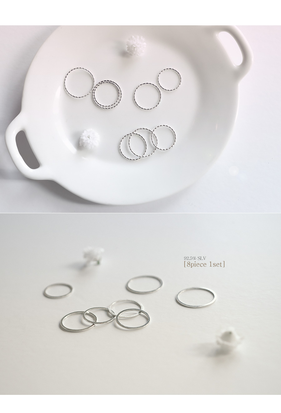 [ 4xtyle ] (8EA 1SET) [SILVER] CLEAR SIMPLE RING