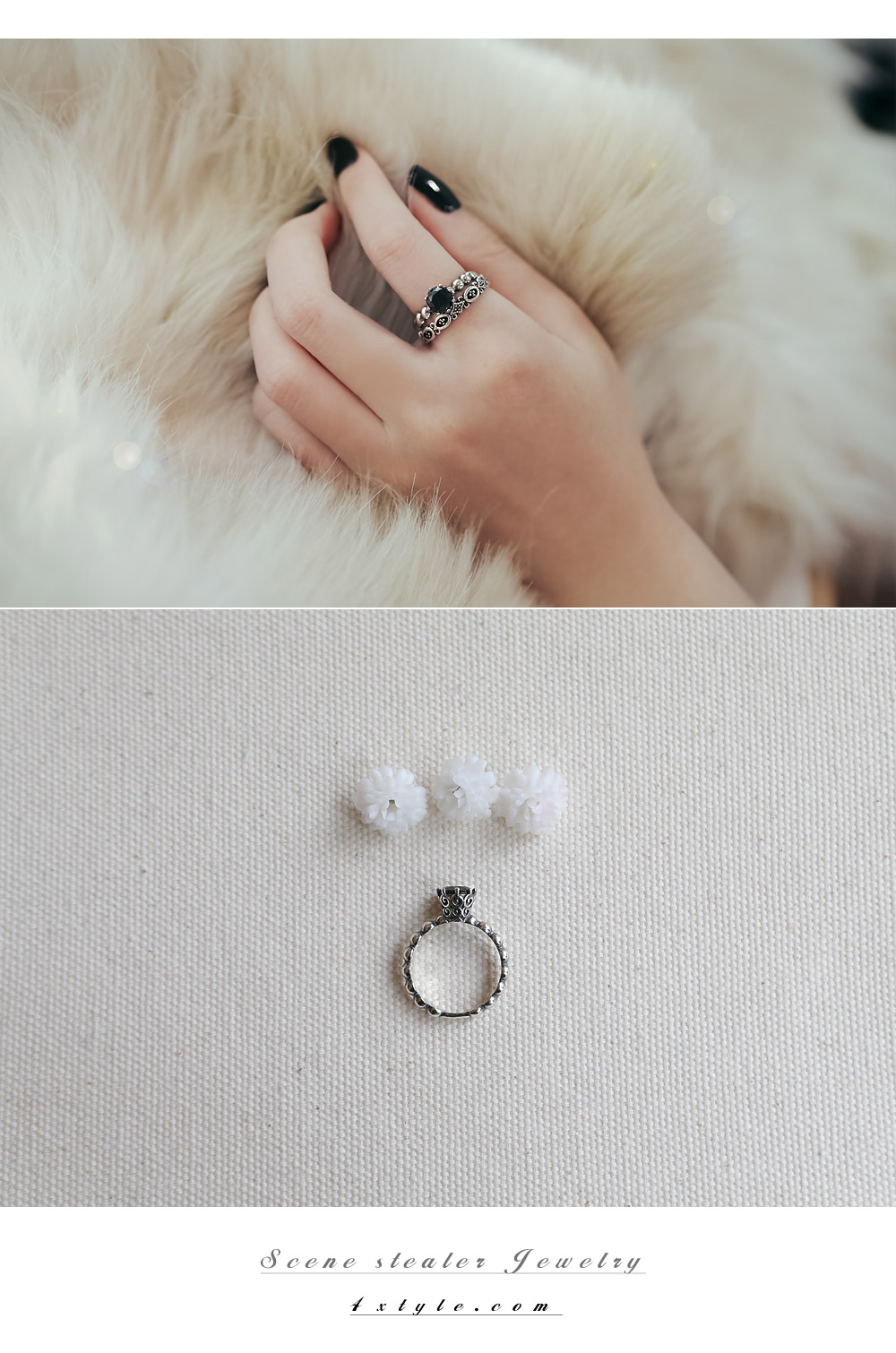 [ 4xtyle ] [SILVER] MAREY CUBIC RING