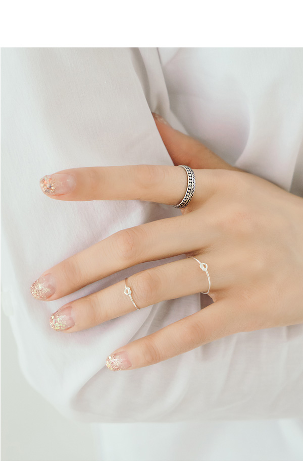 [ 4xtyle ] (2EA 1SET) [SILVER] MINI KNOT RING