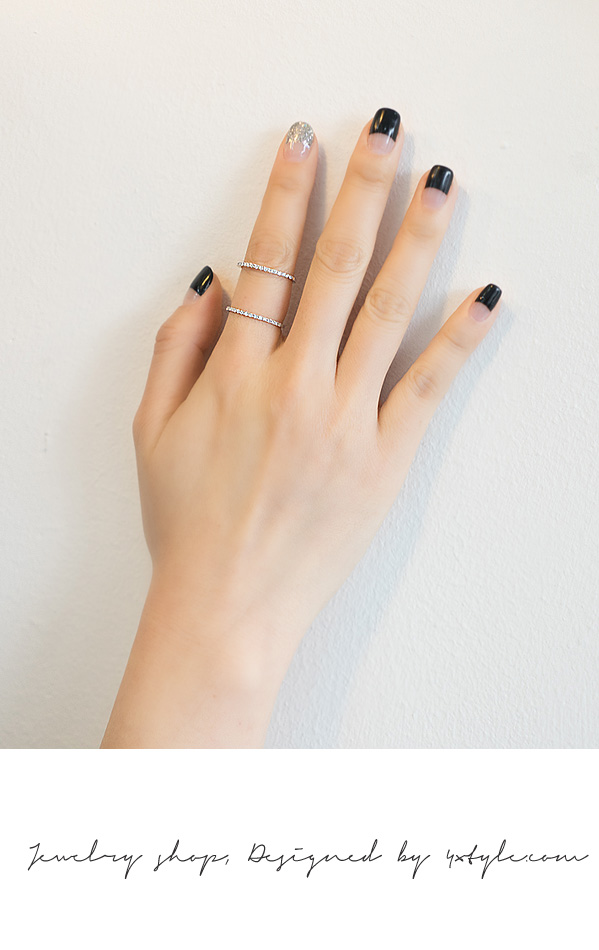 [ 4xtyle ] [SILVER] SUPER SLIM CUBIC DOUBLE LINE RING
