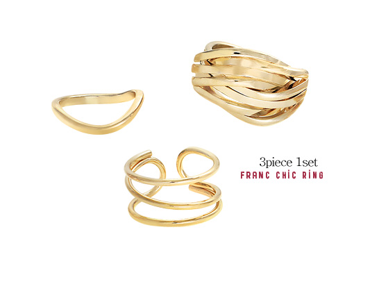 [ 4xtyle ] [4xtyle] [3pcs 1set] Frank Chic Ring
