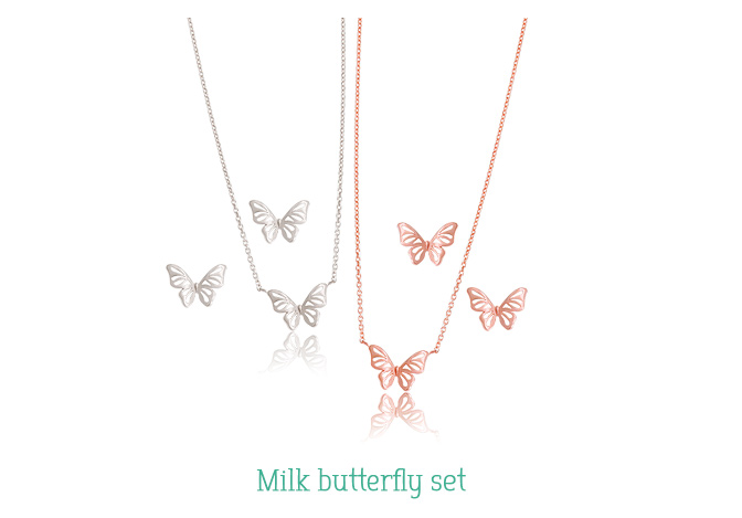 [ 4xtyle ] [SILVER] MILK BUTTERFLY SET(WHITEGOLD)