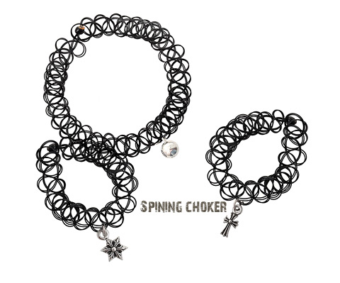 [ 4xtyle ] [SILVER] TATTOO CHOKER SET (FLOWER/MINI CROSS)