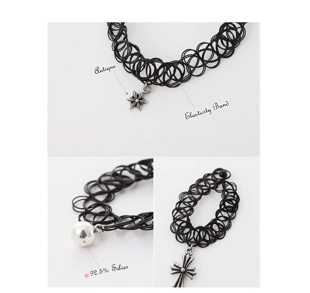 [ 4xtyle ] [SILVER] TATTOO CHOKER SET (SILVER BALL)