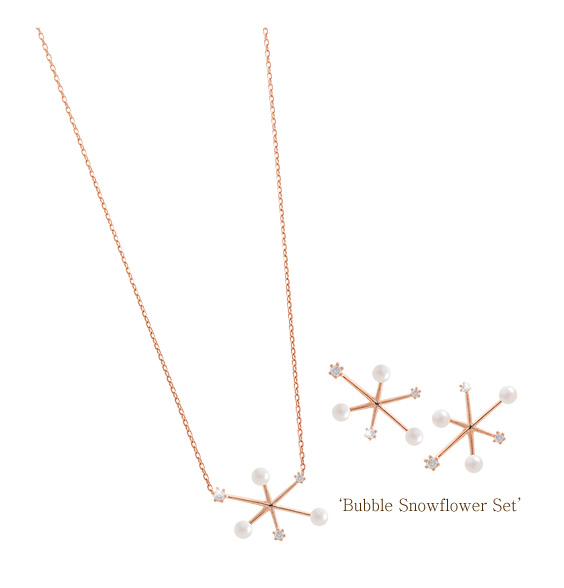 [ 4xtyle ] [SILVER] BUBBLE SNOW FLOWER SET (ROSEGOLD)