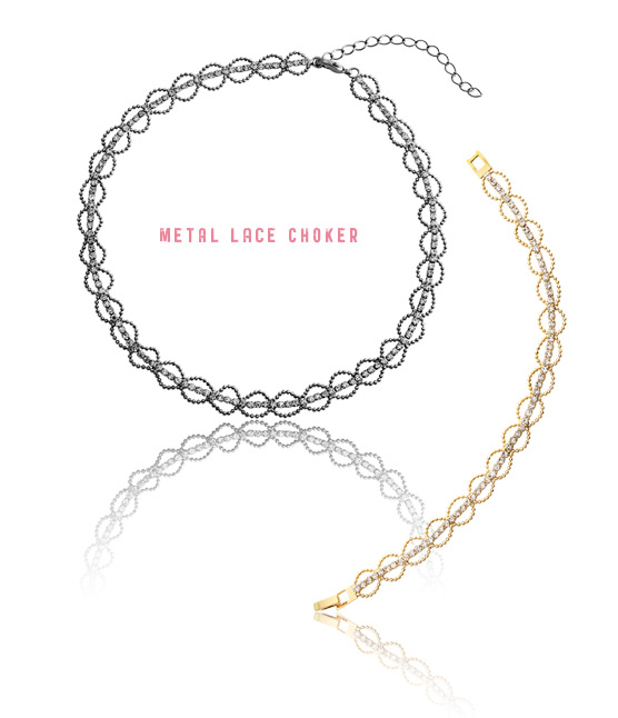 [ 4xtyle ] METAL LACE CHOKER SET