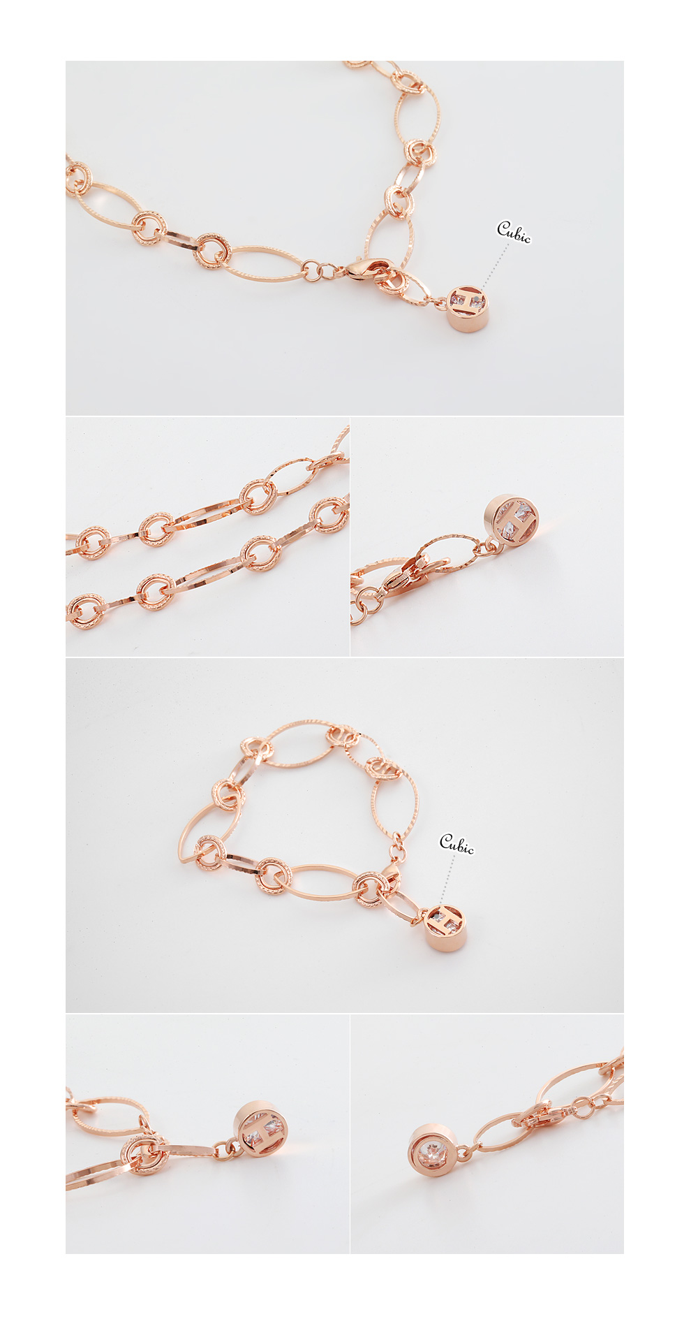 [ 4xtyle ] (NECKLACE+BRACELET) H-POINT CHAIN SET