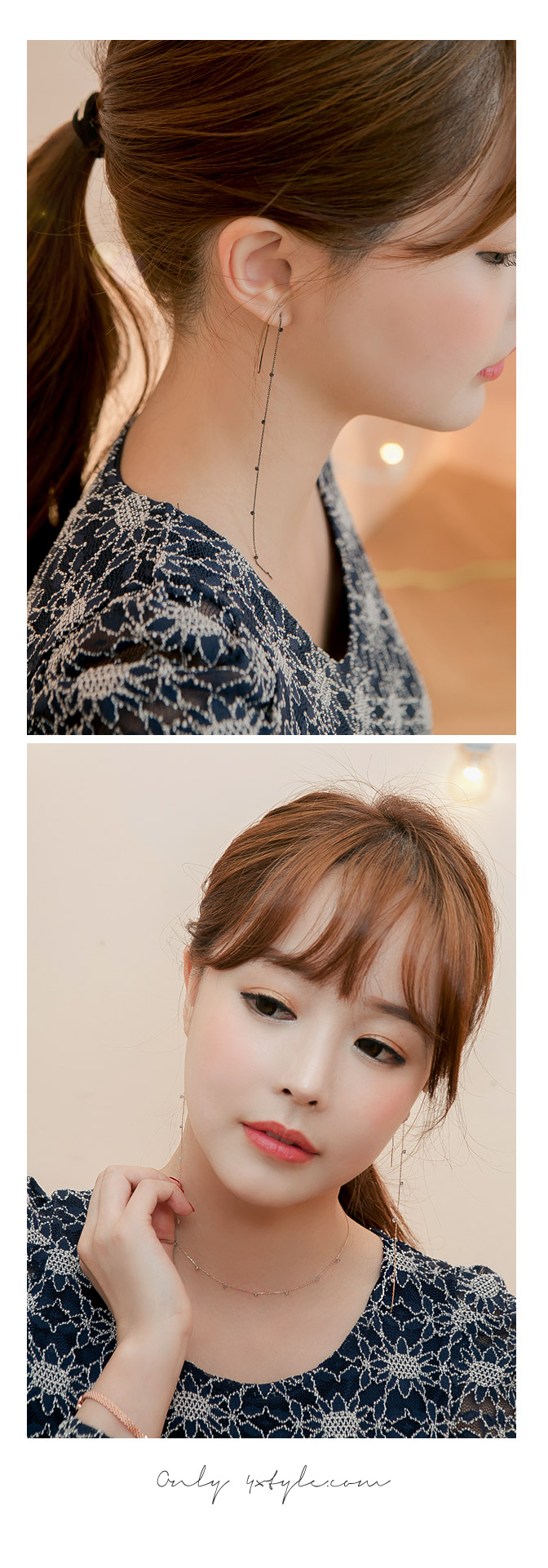 [ 4xtyle ] (EARRING+NECKLACE) [HANDMADE] [SILVER] PECAN SET