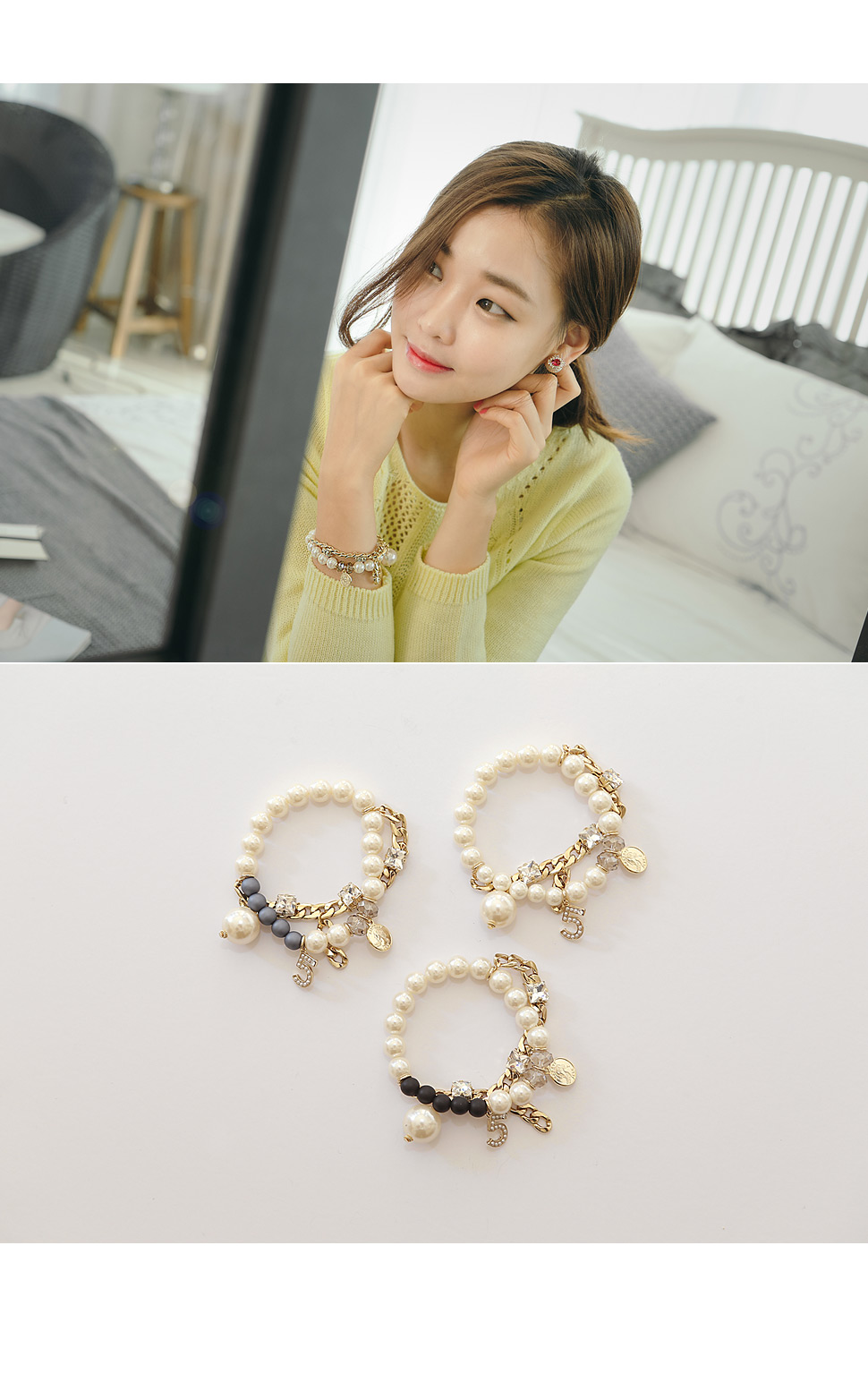 [ 4xtyle ] (NECKLACE+BRACELET) ANAEL PEARL SET