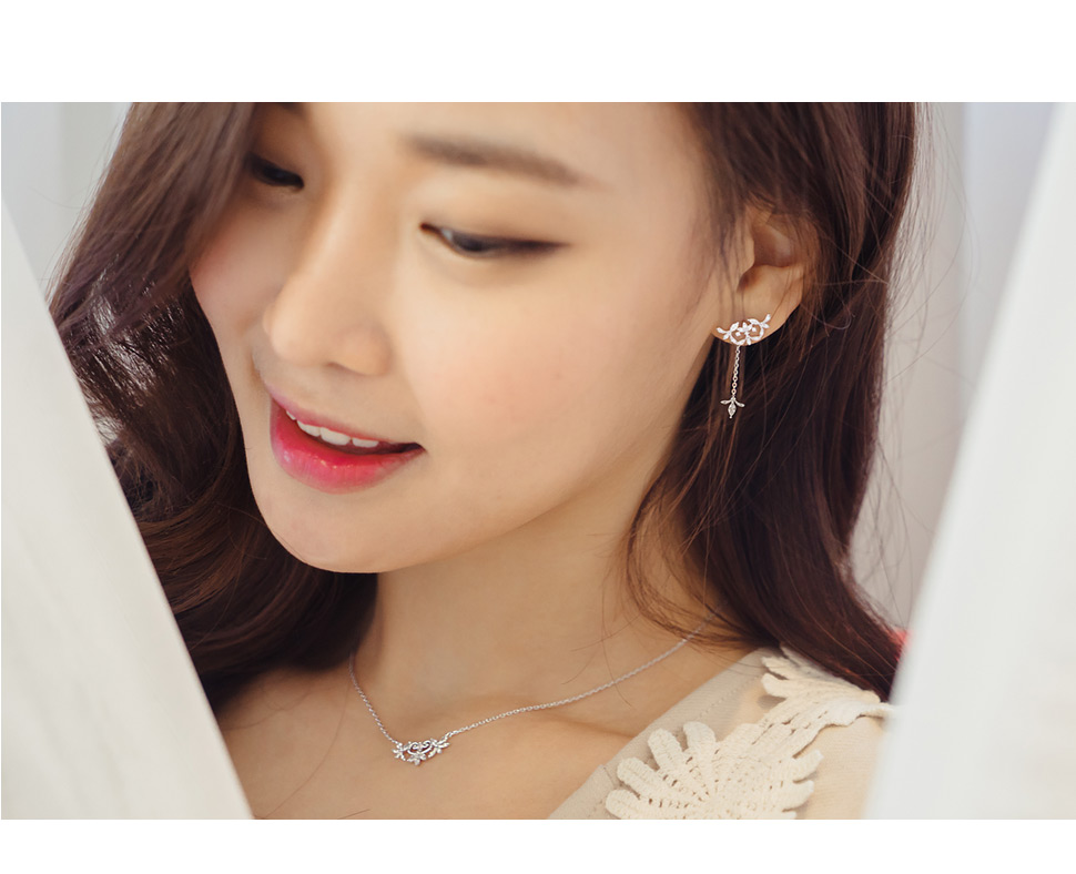 [ 4xtyle ] (NECKLACE+EARRING) LOVABLE DAY SET (WHITEGOLD)