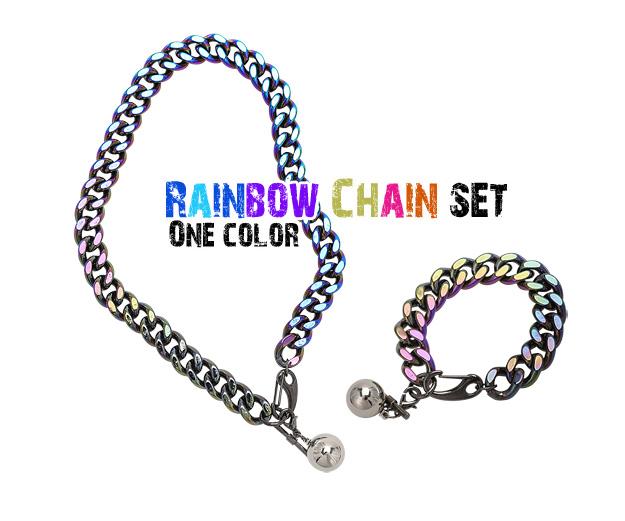 [ 4xtyle ] (NECKLACE+BRACELET) RAINBOW CHAIN SET