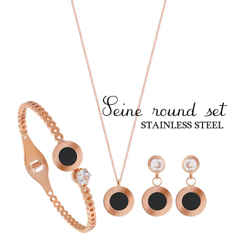 [ 4xtyle ] (NECKLACE+BRACELET+RING) [SILVER] SENE ROUND SET