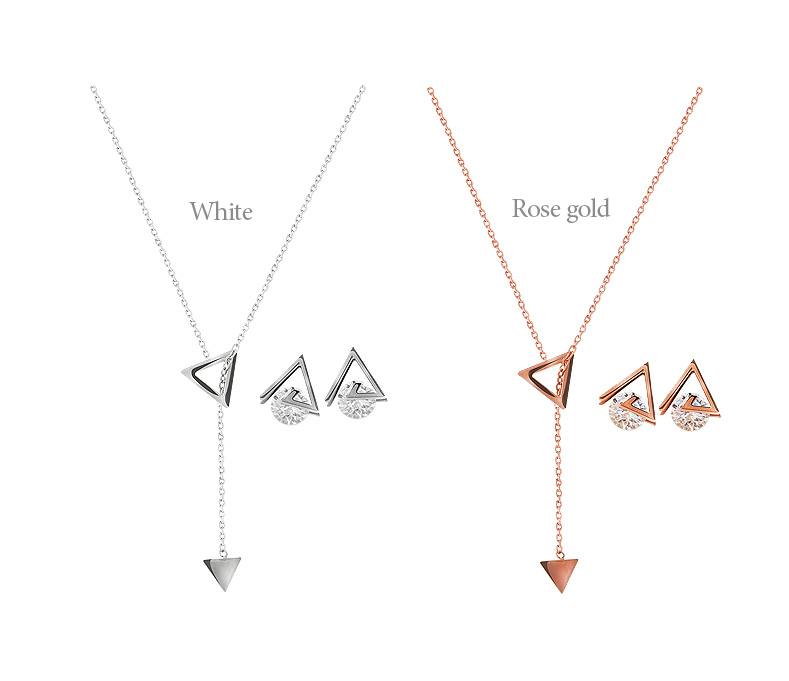 [ 4xtyle ] (EARRING+NECKLACE)REINA TRIANGLE SET(WHITE)